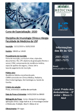 Curso de Especialização Em Imunologia Clínica e Alergia Oferecido Pela Fmusp para o Ano de 2020 a 2022