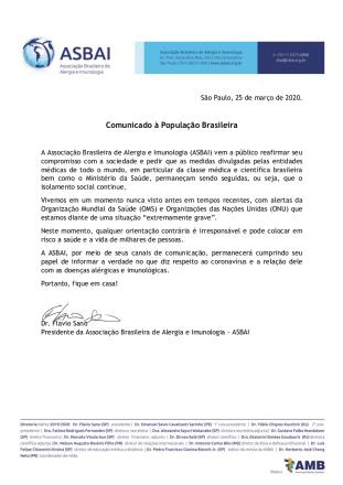 Comunicado à População Brasileira