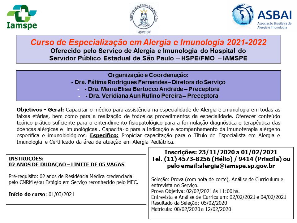 Curso de Especialização em Alergia e Imunologia 2021-2022